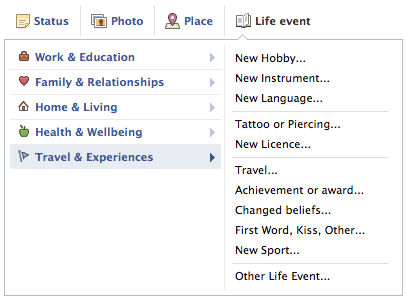 The 'Travel & Experiences' area of the facebook timeline