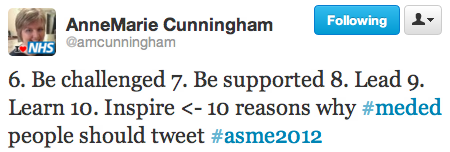 Anne Marie Cunningham tweet from #ASME2012