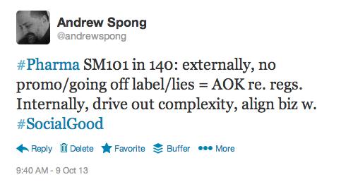 Pharma social media in 140 character, v.1.0